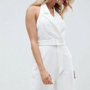 NWT ASOS white tux jumpsuit size US 4